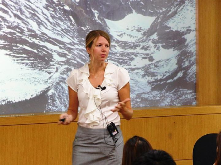 Christine Haas in a presentation