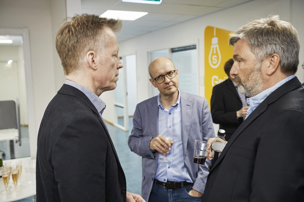 Rector Curt Rice, Head of CDE Professor Olav Lysne, and CEO of Simula Professor Aslak Tveito. (Photo: Simula/Bård Gudim)