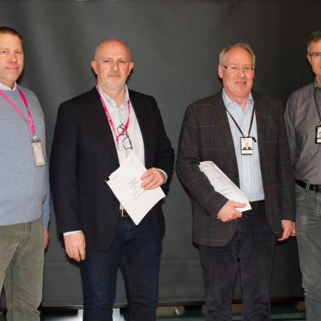 From left to right: Trond Vidar Stensby and Are Magnus Bruaset (both Kalkulo), together with Bjørn Poul Ringvold and Jakob Skogseid (both Statoil). Skogseid and Stensby have been fundamental to the conceptual and technical development of 4DPlates.