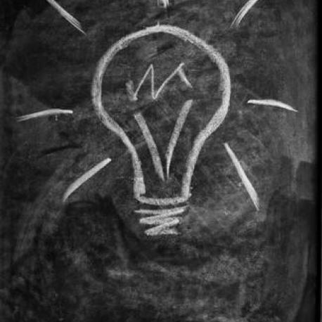 Lightbulb drawn on blackboard