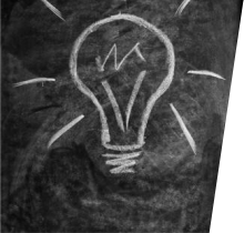 Lightbulb drawn on blackboard